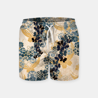 Thumbnail image of Japanese traditional family crest art. Blue Butterfly Swim Shorts, Live Heroes