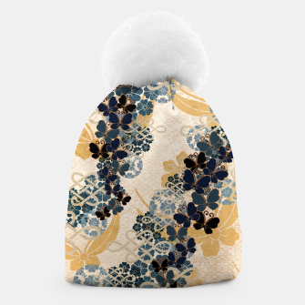 Thumbnail image of Japanese traditional family crest art. Blue Butterfly Beanie, Live Heroes