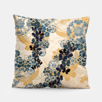 Thumbnail image of Japanese traditional family crest art. Blue Butterfly Pillow, Live Heroes
