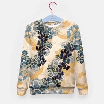 Thumbnail image of Japanese traditional family crest art. Blue Butterfly Kid's sweater, Live Heroes