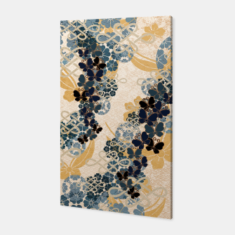 Thumbnail image of Japanese traditional family crest art. Blue Butterfly Canvas, Live Heroes