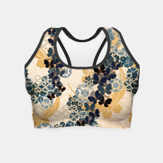 Thumbnail image of Japanese traditional family crest art. Blue Butterfly Crop Top, Live Heroes