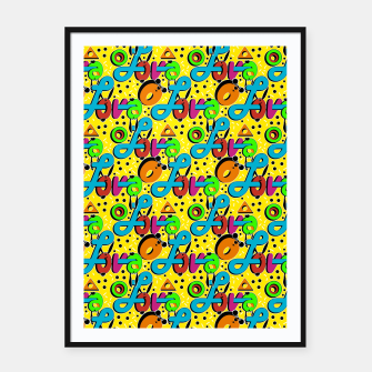 Miniatur Abstract graffiti style modern love forms a geometric print Framed poster, Live Heroes