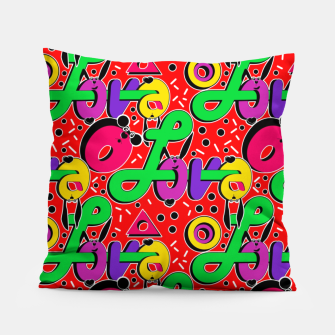 Thumbnail image of Abstract graffiti style modern love forms a geometric print Pillow, Live Heroes