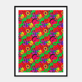Thumbnail image of Abstract graffiti style modern love forms a geometric print Framed poster, Live Heroes