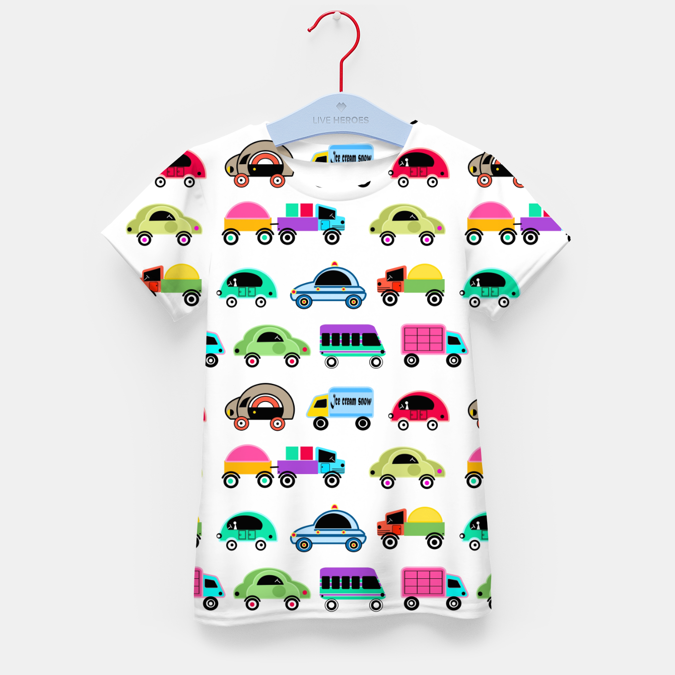 Image of children's car cartoon, mixed colors Kid's t-shirt - Live Heroes
