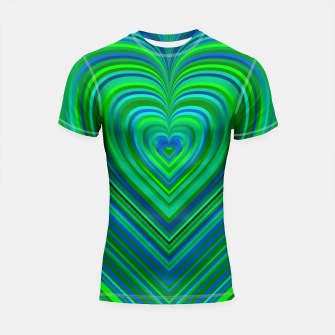 Thumbnail image of Word Spectrum: Hype-Funky-Green-Heart Shortsleeve rashguard, Live Heroes
