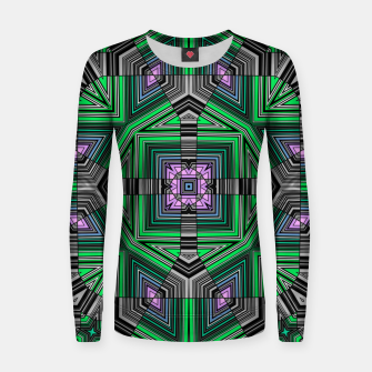 Thumbnail image of Abstract dark decor ethno folk green lined oriental ornamental striped tribal Women sweater, Live Heroes