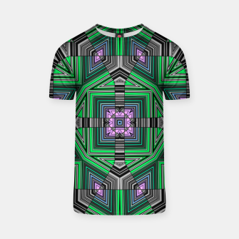 Thumbnail image of Abstract dark decor ethno folk green lined oriental ornamental striped tribal T-shirt, Live Heroes