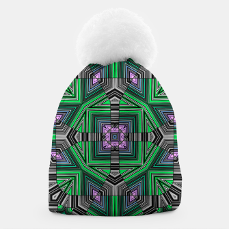 Thumbnail image of Abstract dark decor ethno folk green lined oriental ornamental striped tribal Beanie, Live Heroes
