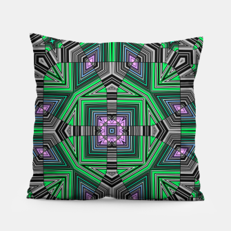 Thumbnail image of Abstract dark decor ethno folk green lined oriental ornamental striped tribal Pillow, Live Heroes