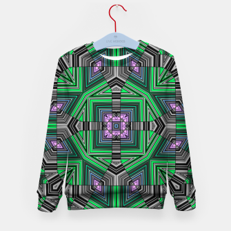 Thumbnail image of Abstract dark decor ethno folk green lined oriental ornamental striped tribal Kid's sweater, Live Heroes