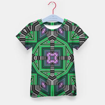 Thumbnail image of Abstract dark decor ethno folk green lined oriental ornamental striped tribal Kid's t-shirt, Live Heroes