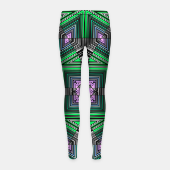 Thumbnail image of Abstract dark decor ethno folk green lined oriental ornamental striped tribal Girl's leggings, Live Heroes