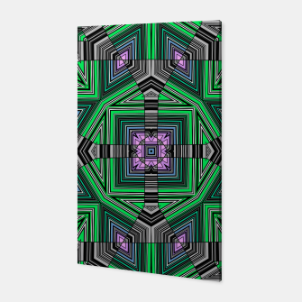 Thumbnail image of Abstract dark decor ethno folk green lined oriental ornamental striped tribal Canvas, Live Heroes