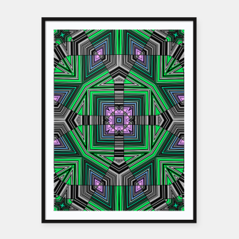 Thumbnail image of Abstract dark decor ethno folk green lined oriental ornamental striped tribal Framed poster, Live Heroes
