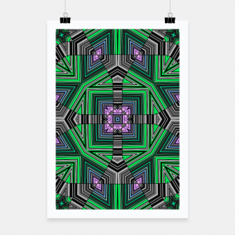 Thumbnail image of Abstract dark decor ethno folk green lined oriental ornamental striped tribal Poster, Live Heroes