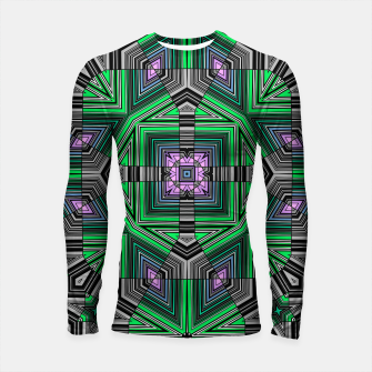 Thumbnail image of Abstract dark decor ethno folk green lined oriental ornamental striped tribal Longsleeve rashguard , Live Heroes
