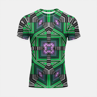 Thumbnail image of Abstract dark decor ethno folk green lined oriental ornamental striped tribal Shortsleeve rashguard, Live Heroes