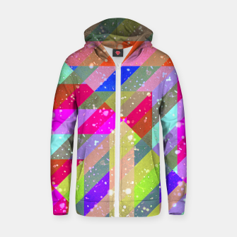 Multicolored Party Geo Design Print  Zip up hoodie obraz miniatury