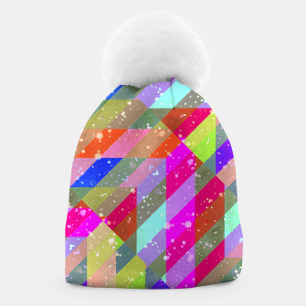 Multicolored Party Geo Design Print  Beanie obraz miniatury