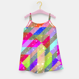 Multicolored Party Geo Design Print  Girl's dress obraz miniatury