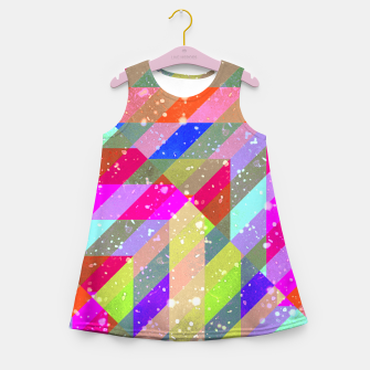 Multicolored Party Geo Design Print  Girl's summer dress obraz miniatury