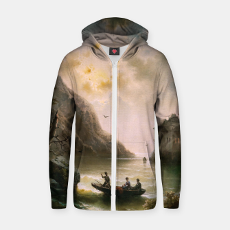 Thumbnail image of Crossing In A Moonlit Night by Albert Rieger Zip up hoodie, Live Heroes