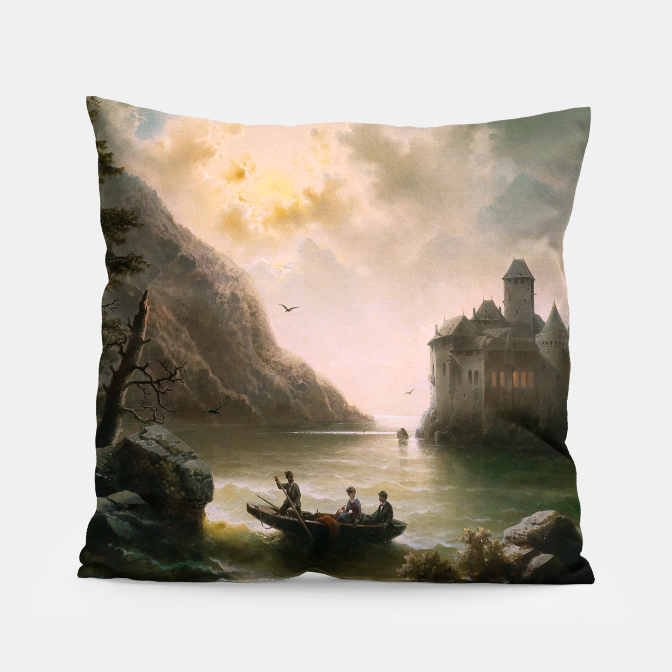 Image of Crossing In A Moonlit Night by Albert Rieger Pillow - Live Heroes