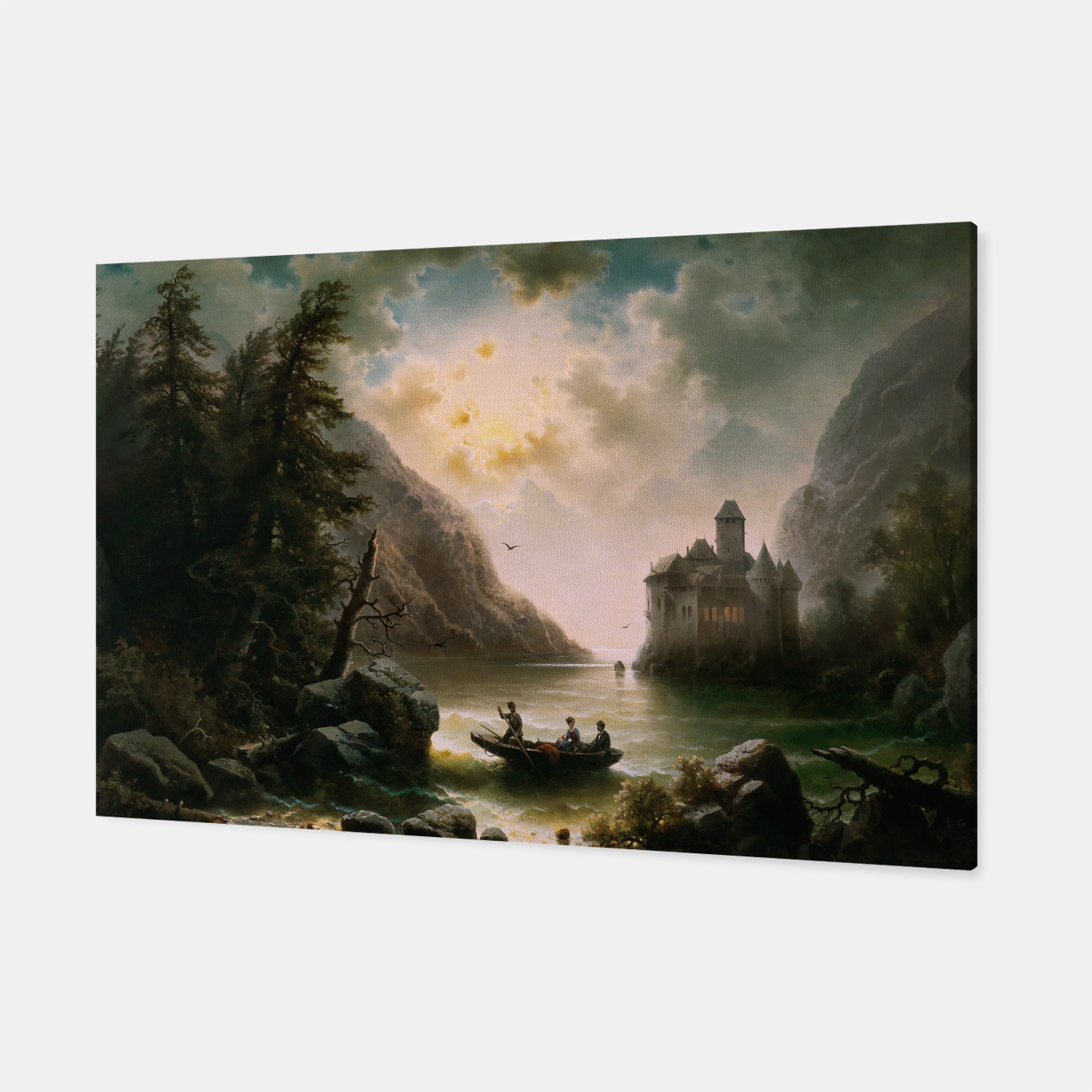 Image of Crossing In A Moonlit Night by Albert Rieger Canvas - Live Heroes