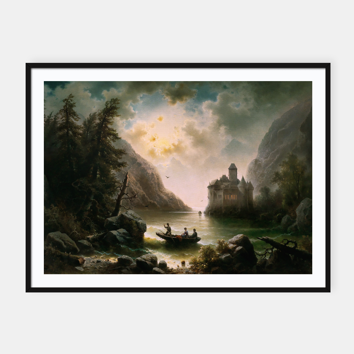 Image of Crossing In A Moonlit Night by Albert Rieger Framed poster - Live Heroes
