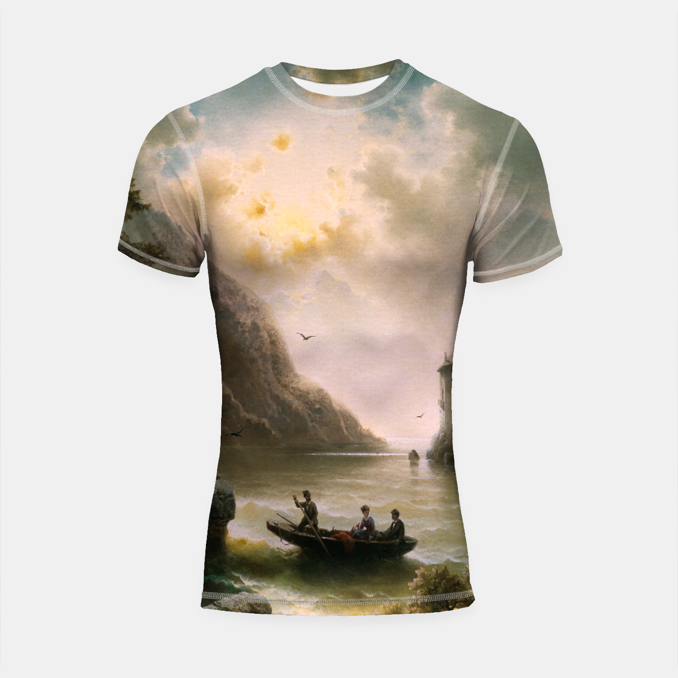 Image of Crossing In A Moonlit Night by Albert Rieger Shortsleeve rashguard - Live Heroes