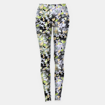 Floral abstract  black and gray, autumn Leggings Bild der Miniatur