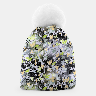 Floral abstract  black and gray, autumn Beanie Bild der Miniatur