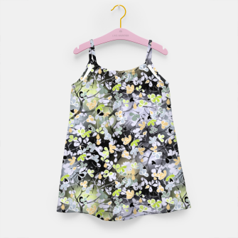 Floral abstract  black and gray, autumn Girl's dress Bild der Miniatur