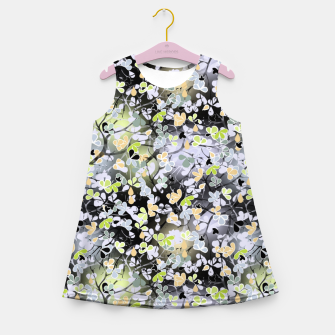 Floral abstract  black and gray, autumn Girl's summer dress Bild der Miniatur