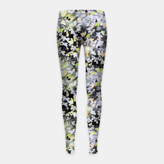 Floral abstract  black and gray, autumn Girl's leggings Bild der Miniatur