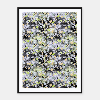 Floral abstract  black and gray, autumn Framed poster Bild der Miniatur
