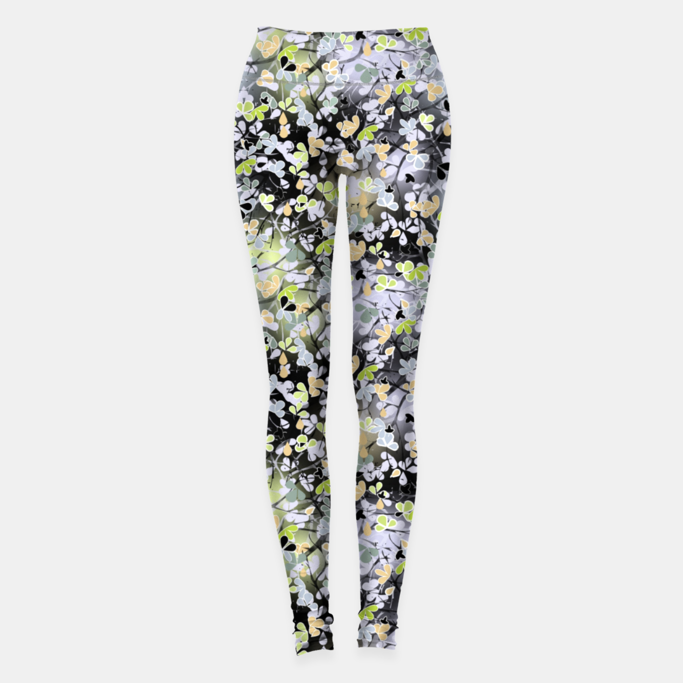 Foto Floral abstract  black and gray, autumn Leggings - Live Heroes