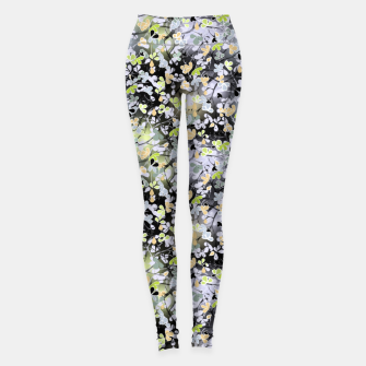 Miniatur Floral abstract  black and gray, autumn Leggings, Live Heroes