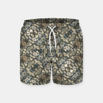 Miniatur Urban Art Textured Print Pattern Swim Shorts, Live Heroes