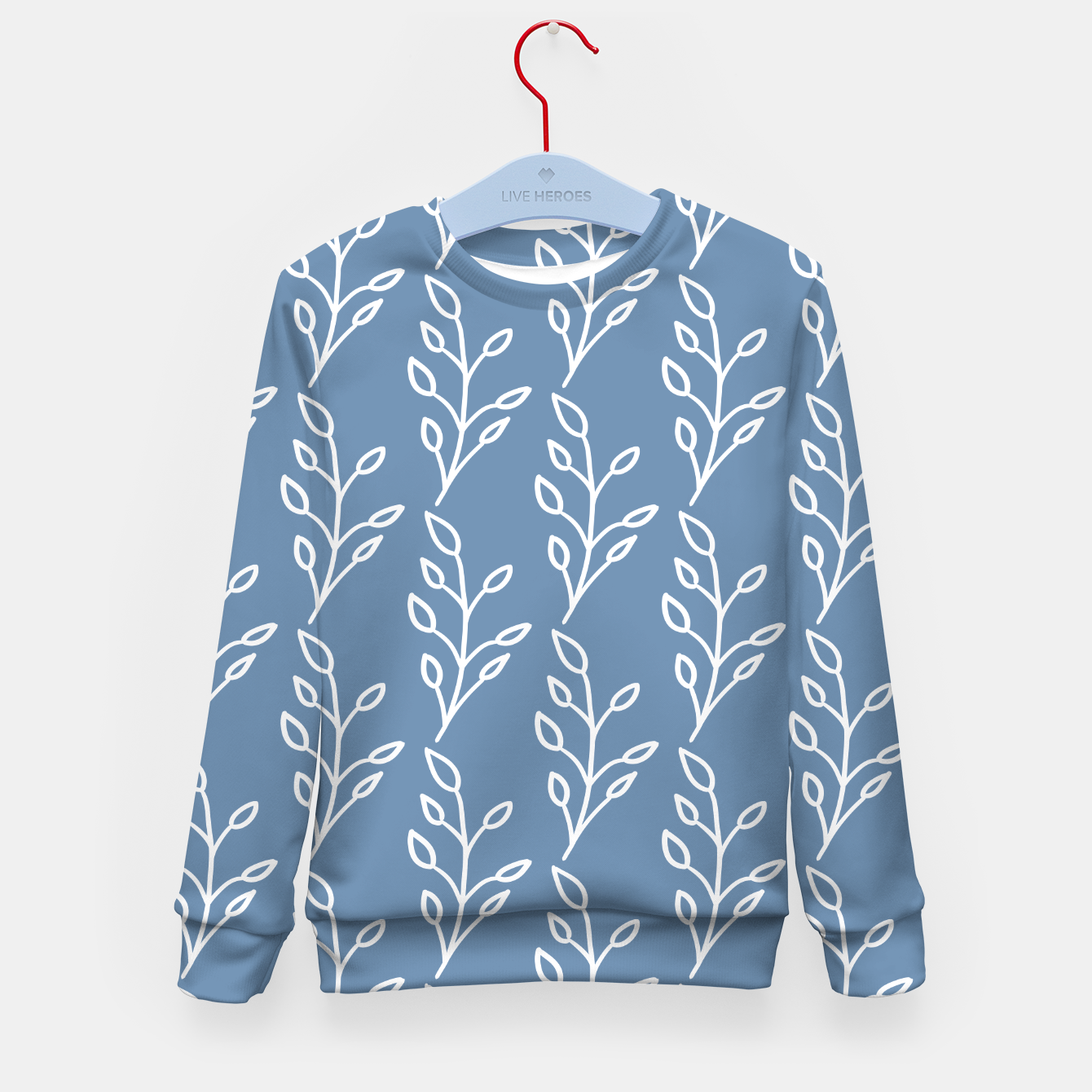 Image of Feeling of lightness Pattern - Steel Blue Kid's sweater - Live Heroes
