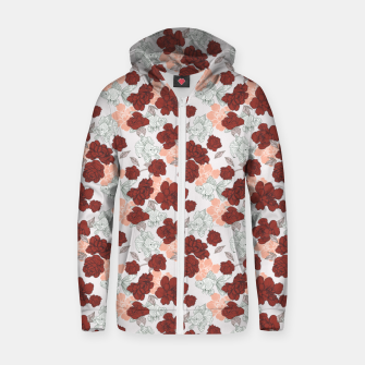 Fish and red flowers Sudadera con capucha y cremallera  Bild der Miniatur