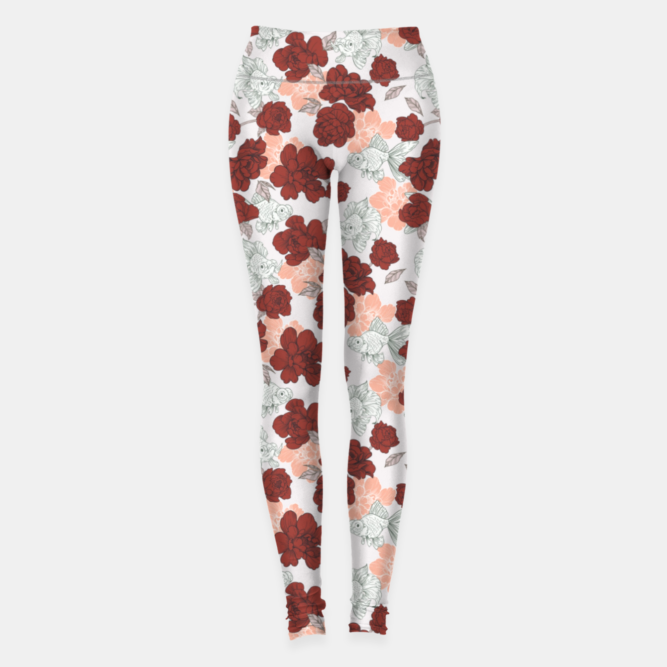 Foto Fish and red flowers Leggings - Live Heroes