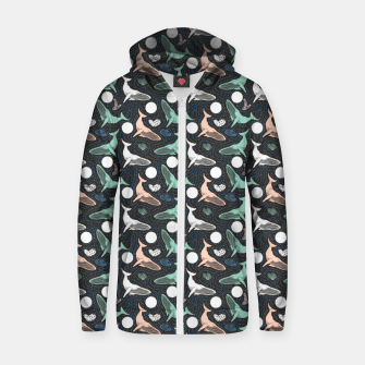 Thumbnail image of Whales in the dark Sudadera con capucha y cremallera , Live Heroes