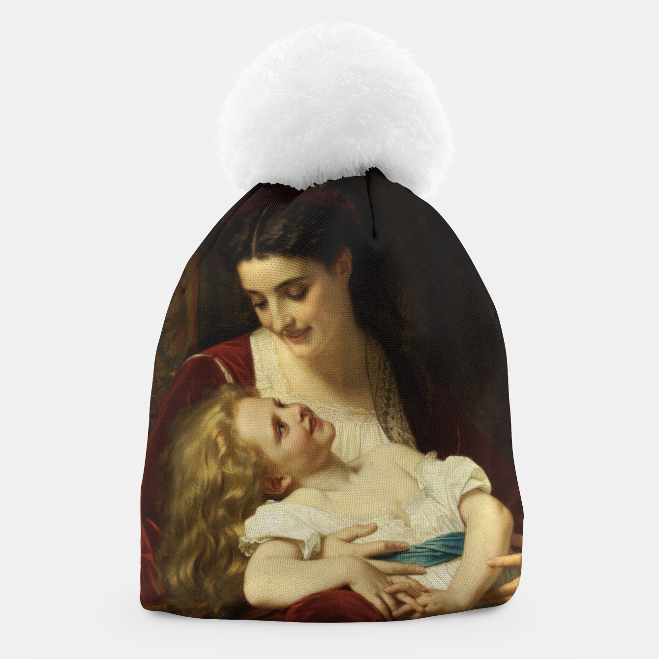 Image of Maternal Affection by Hugues Merle Fine Art Reproduction Beanie - Live Heroes