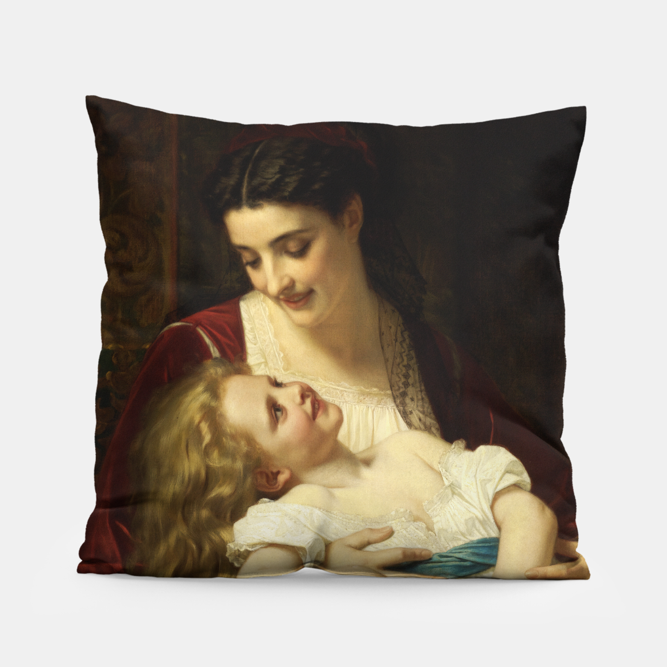 Image of Maternal Affection by Hugues Merle Fine Art Reproduction Pillow - Live Heroes
