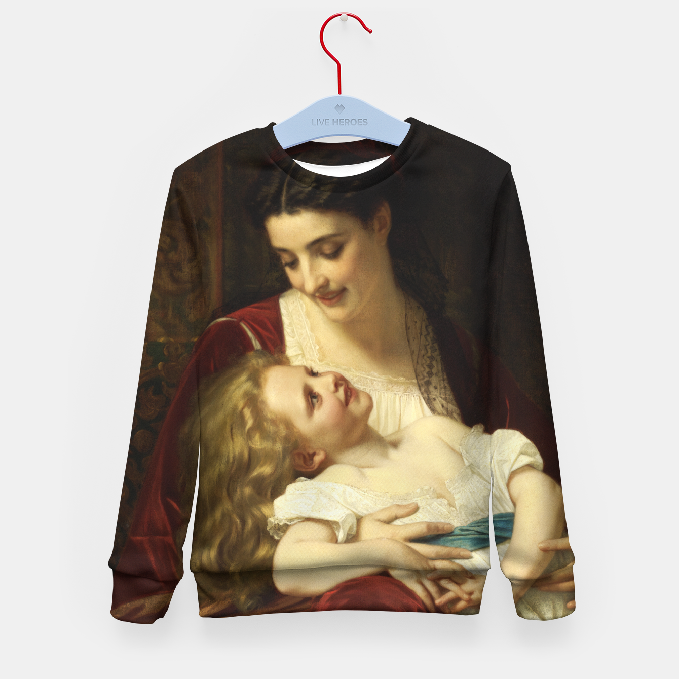 Image of Maternal Affection by Hugues Merle Fine Art Reproduction Kid's sweater - Live Heroes
