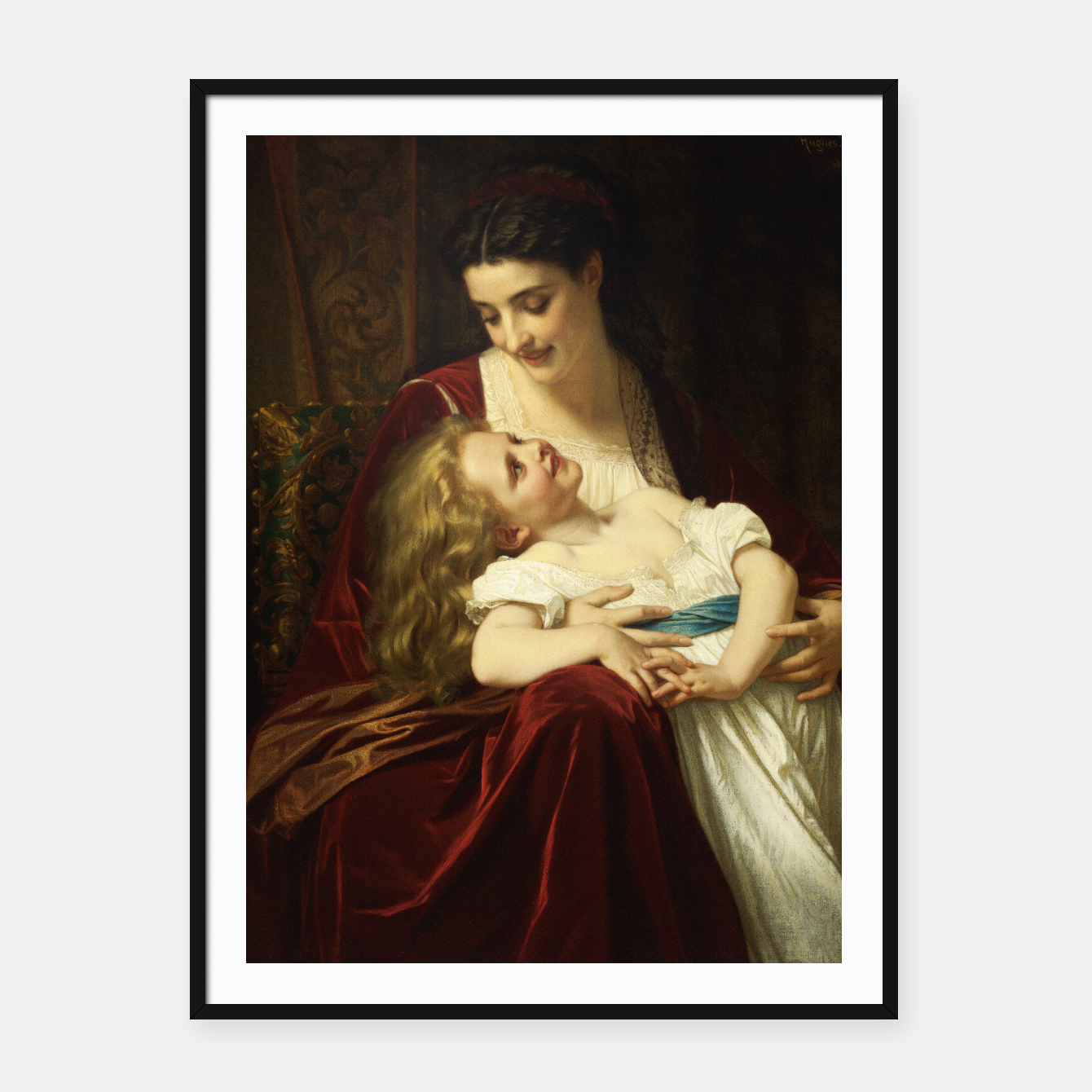 Image of Maternal Affection by Hugues Merle Fine Art Reproduction Framed poster - Live Heroes