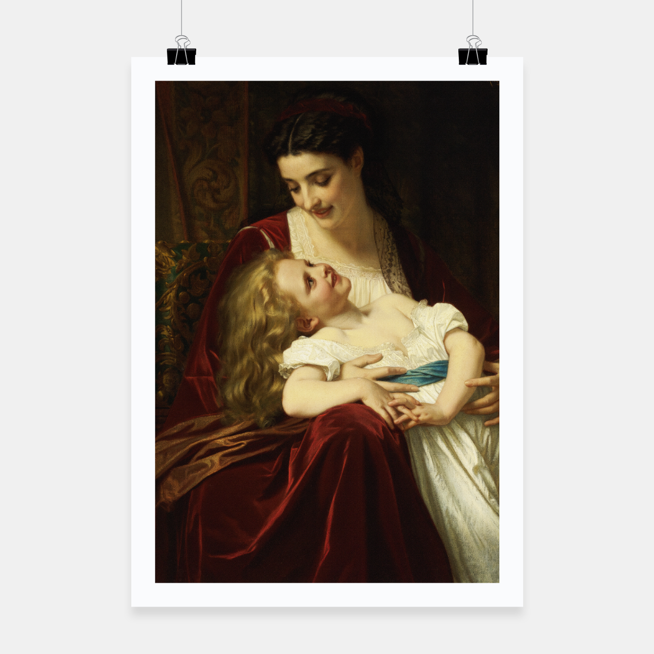 Image of Maternal Affection by Hugues Merle Fine Art Reproduction Poster - Live Heroes